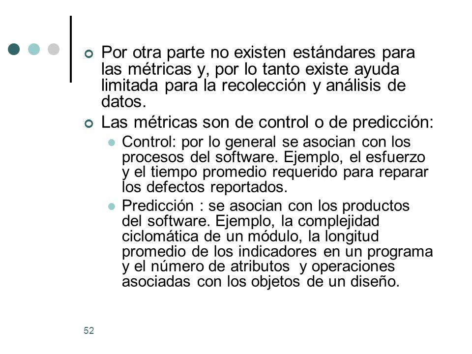 Las métricas son de control o de predicción: