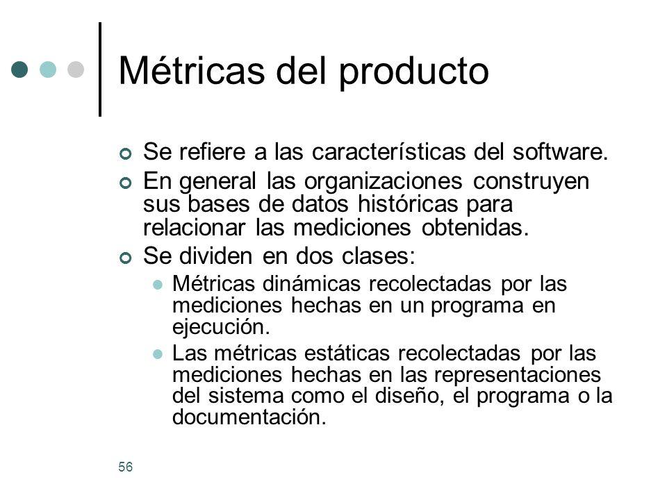 Métricas del producto Se refiere a las características del software.