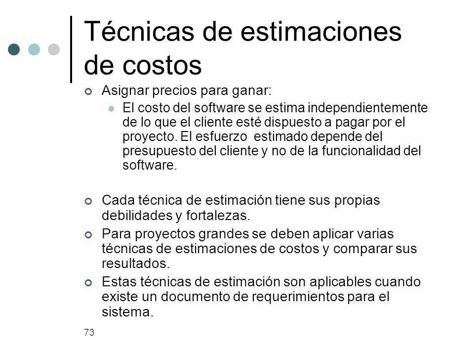 Técnicas de estimaciones de costos