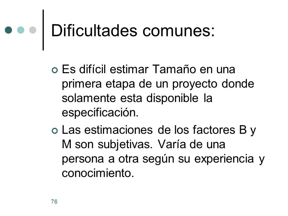 Dificultades comunes: