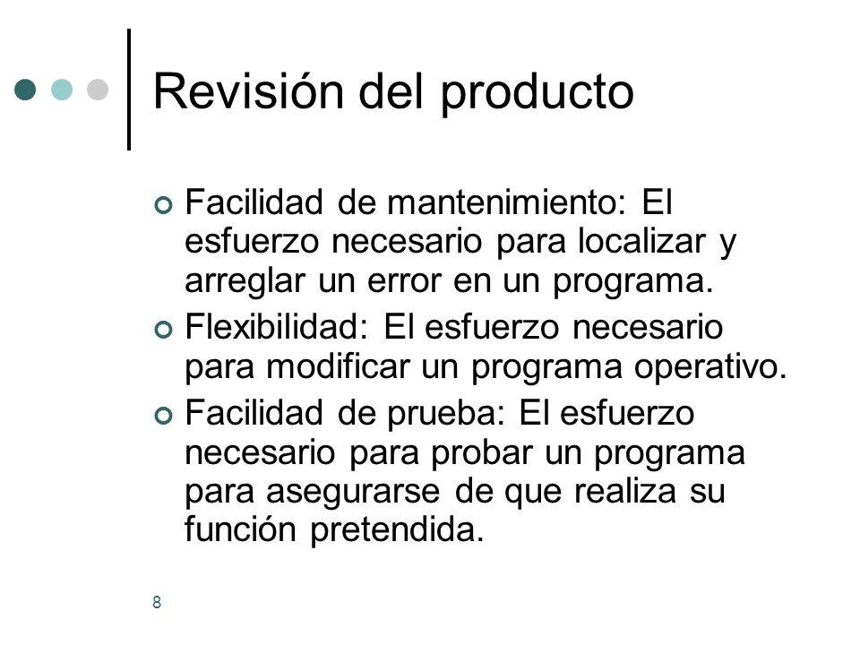 Revisión del producto Facilidad de mantenimiento: El esfuerzo necesario para localizar y arreglar un error en un programa.