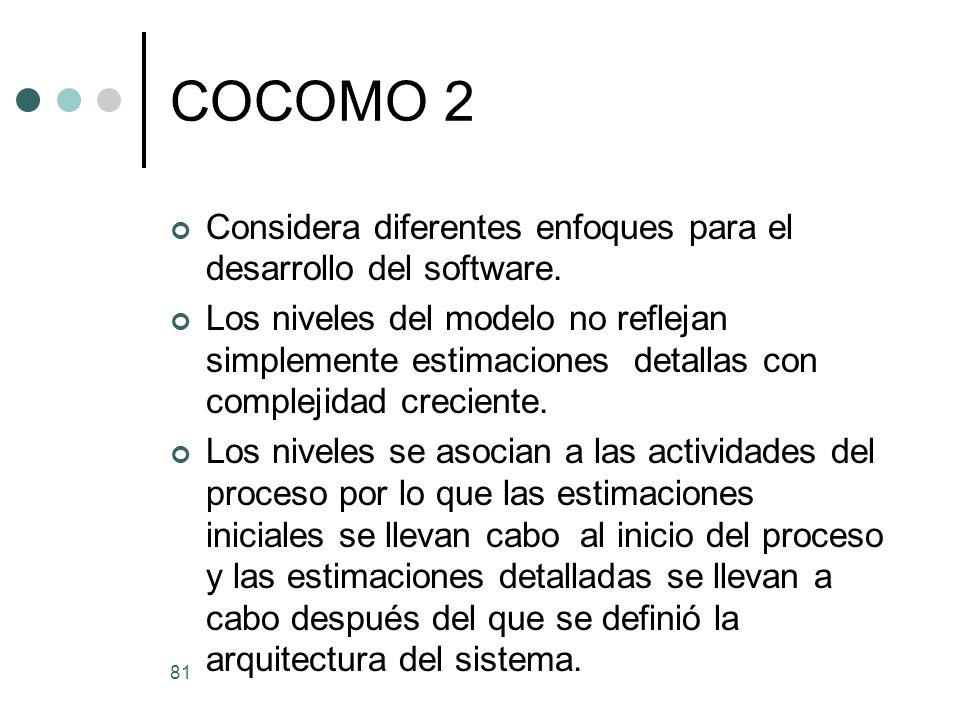 COCOMO 2 Considera diferentes enfoques para el desarrollo del software.