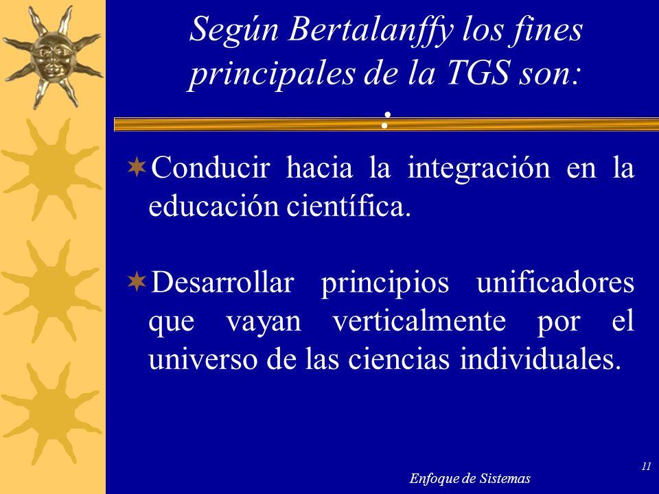 Según Bertalanffy los fines principales de la TGS son: :