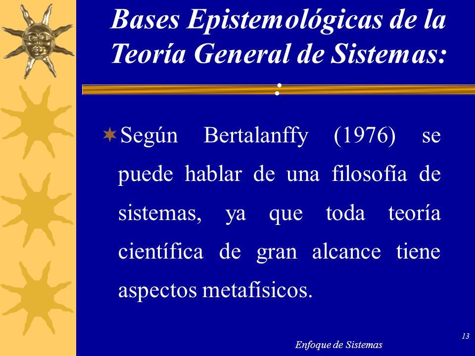 Bases Epistemológicas de la Teoría General de Sistemas: :