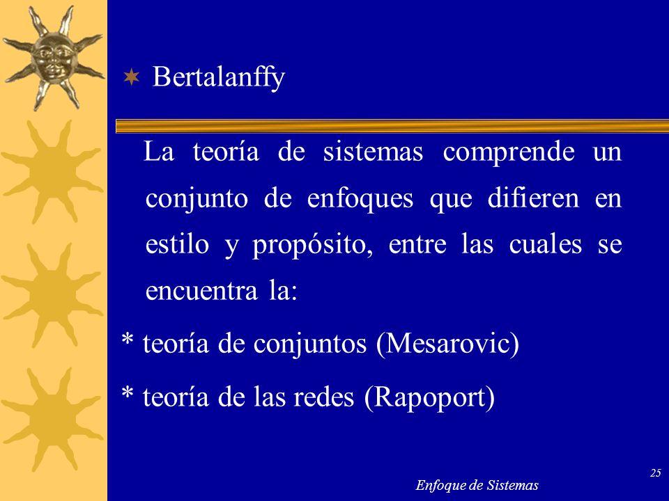 * teoría de conjuntos (Mesarovic) * teoría de las redes (Rapoport)