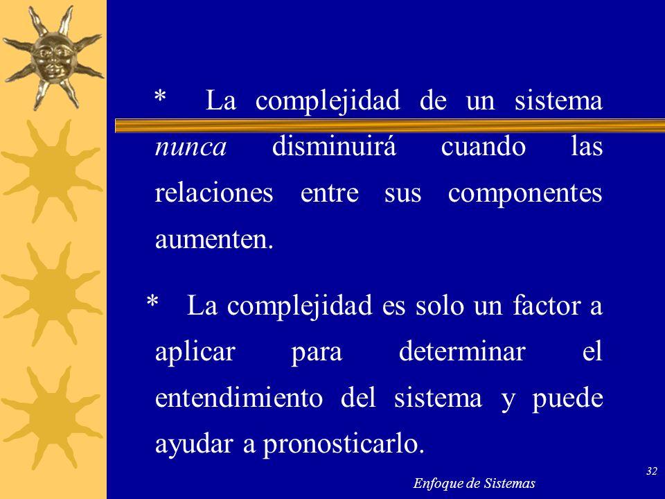 * La complejidad de un sistema nunca disminuirá cuando las relaciones entre sus componentes aumenten.