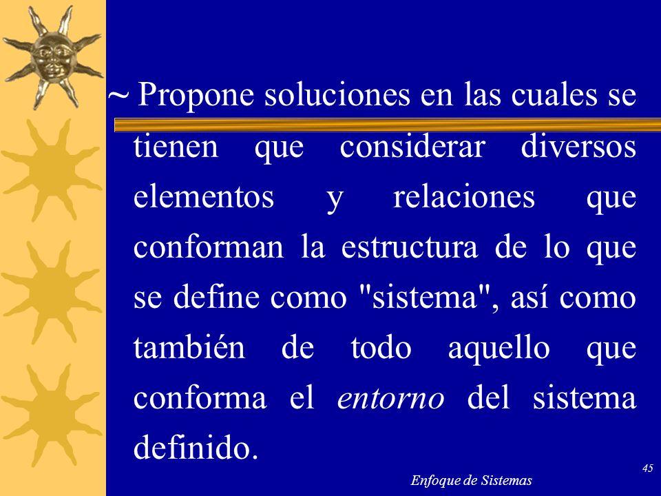 ~ Propone soluciones en las cuales se tienen que considerar diversos elementos y relaciones que conforman la estructura de lo que se define como sistema , así como también de todo aquello que conforma el entorno del sistema definido.