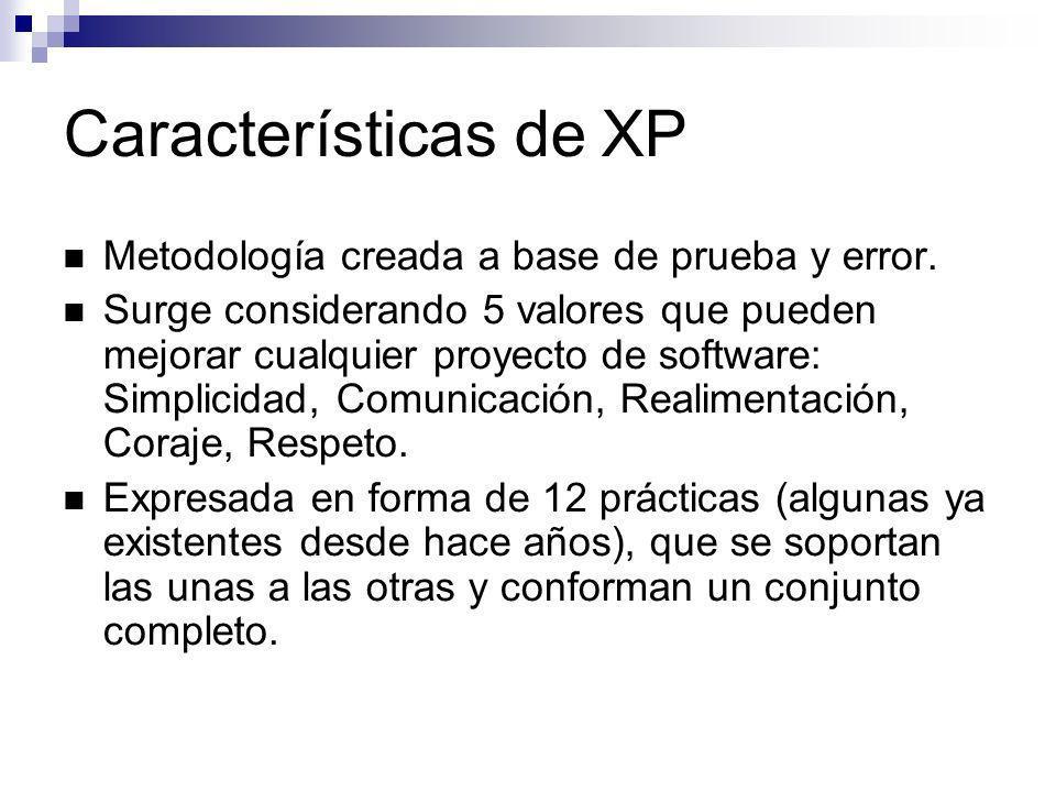 Características de XP Metodología creada a base de prueba y error.
