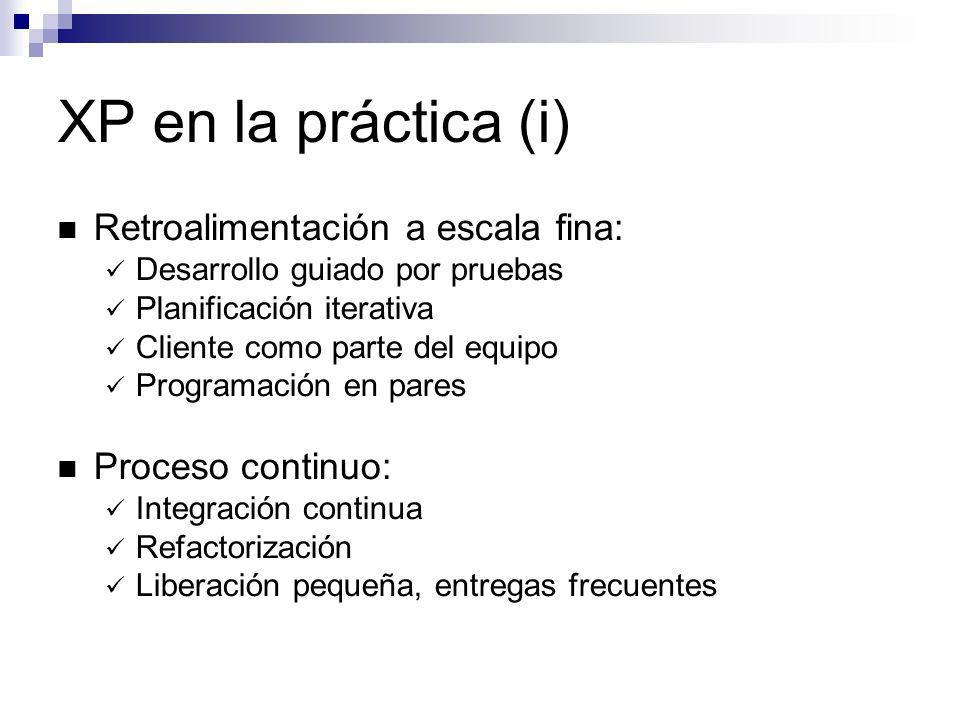 XP en la práctica (i) Retroalimentación a escala fina: