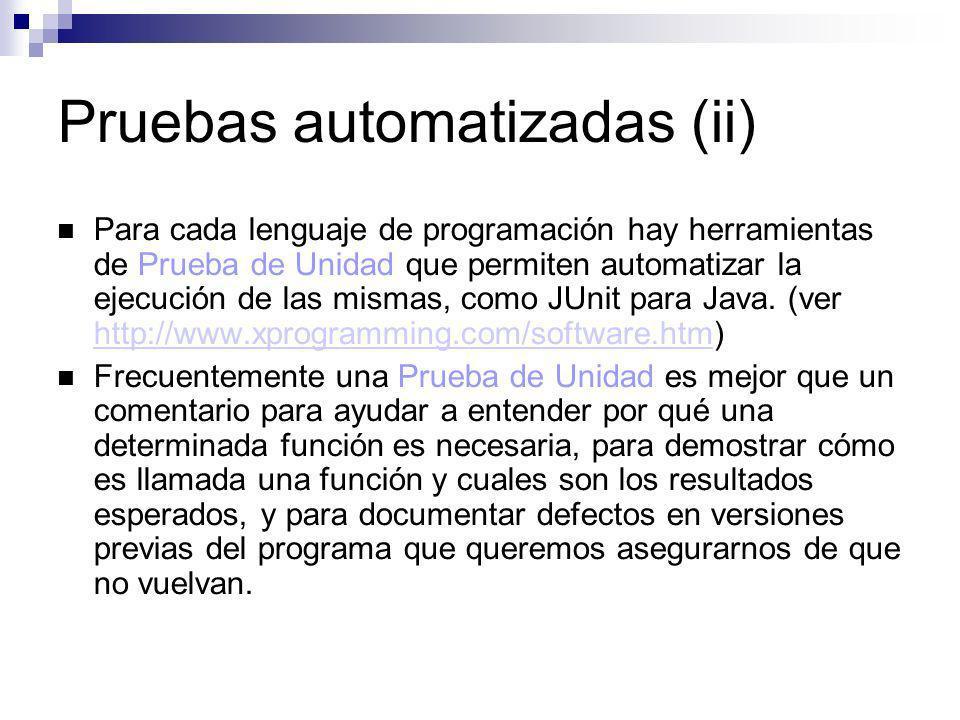 Pruebas automatizadas (ii)