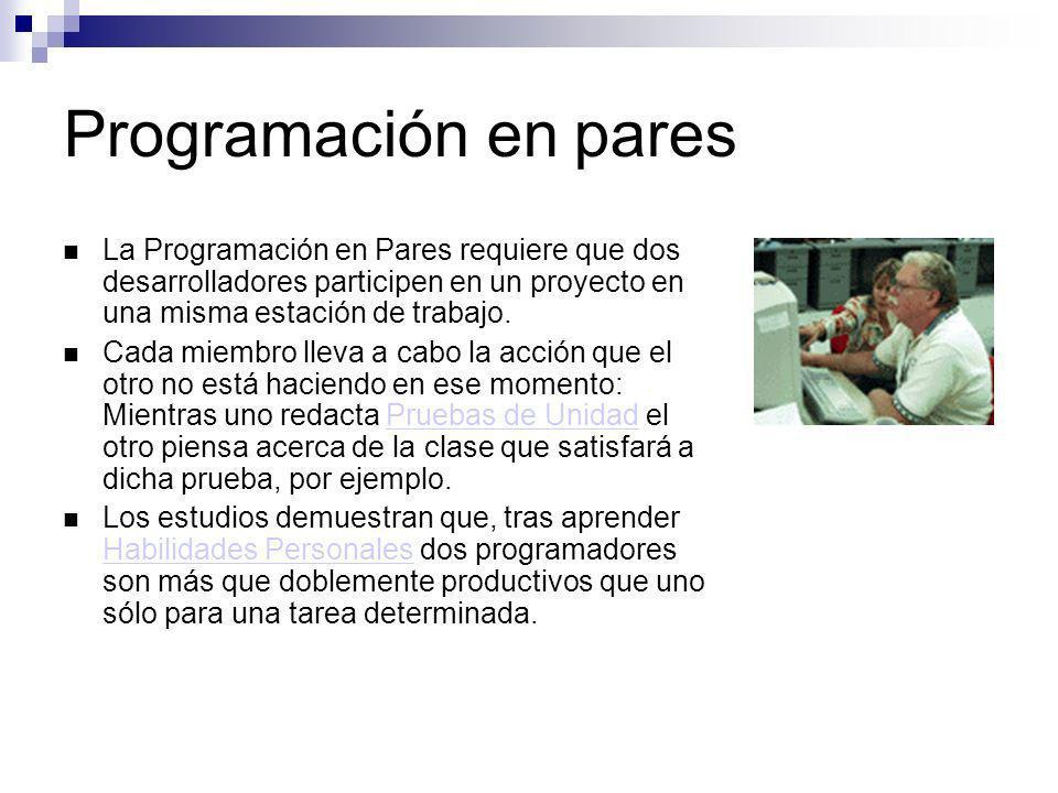 Programación en pares La Programación en Pares requiere que dos desarrolladores participen en un proyecto en una misma estación de trabajo.