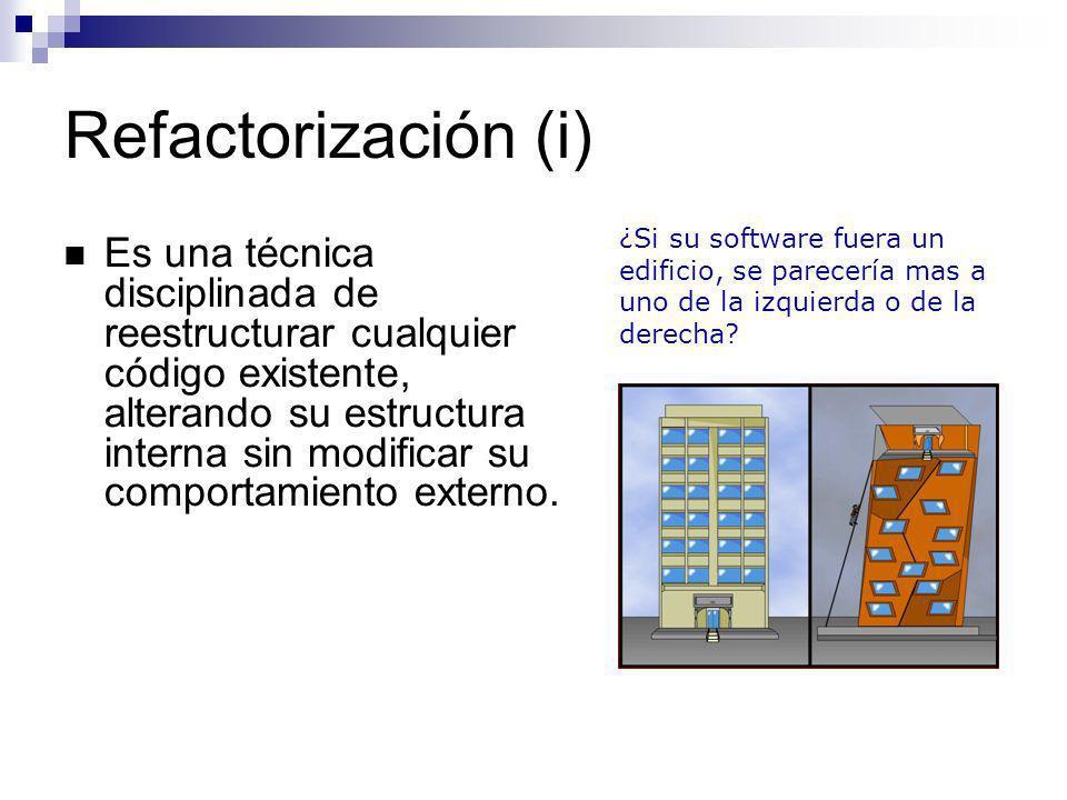 Refactorización (i) ¿Si su software fuera un edificio, se parecería mas a uno de la izquierda o de la derecha