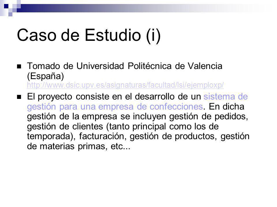Caso de Estudio (i) Tomado de Universidad Politécnica de Valencia (España) http://www.dsic.upv.es/asignaturas/facultad/lsi/ejemploxp/
