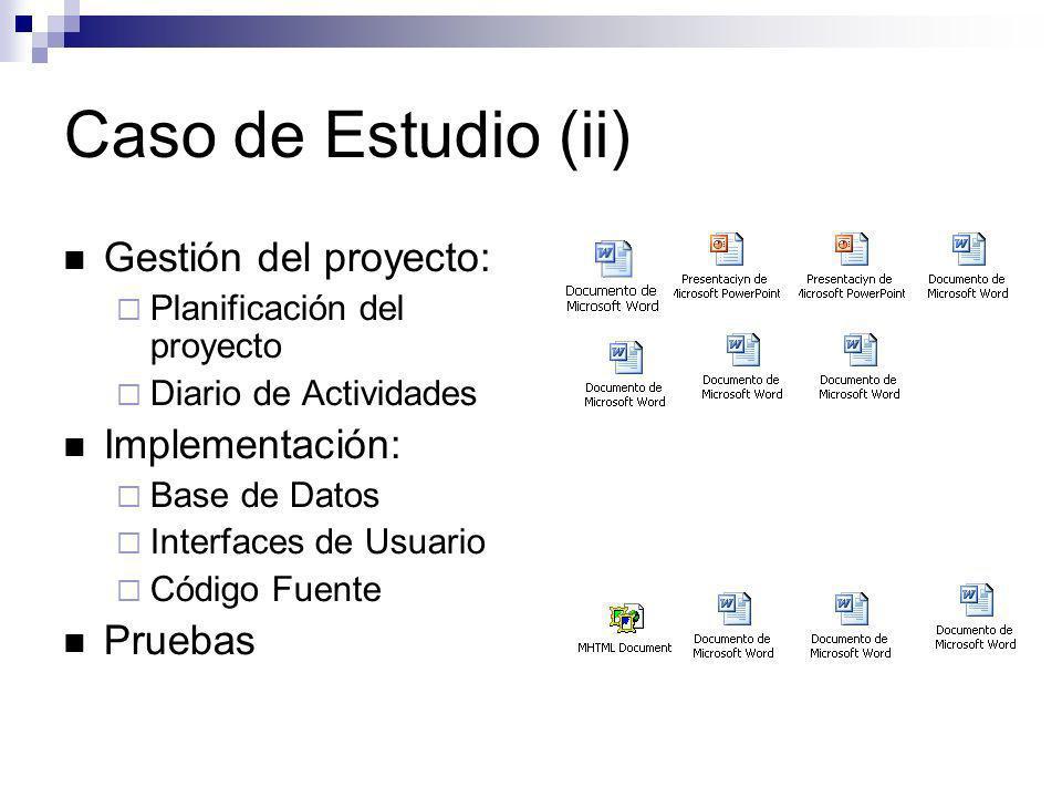 Caso de Estudio (ii) Gestión del proyecto: Implementación: Pruebas