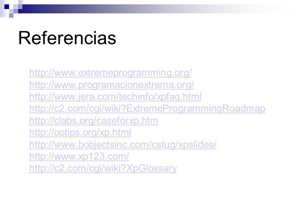 Referencias http://www.extremeprogramming.org/