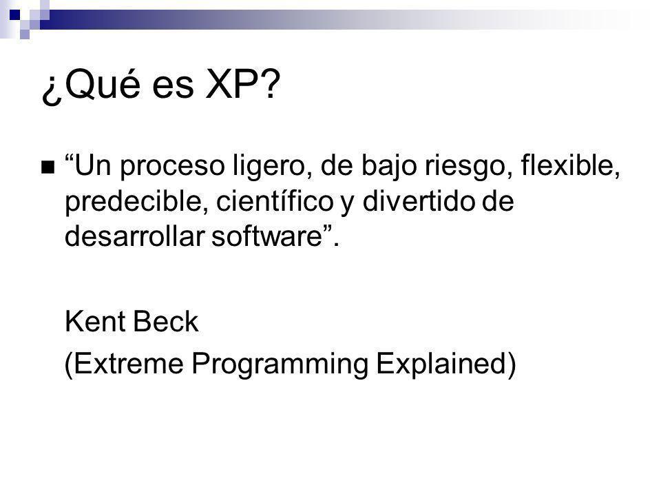 ¿Qué es XP Un proceso ligero, de bajo riesgo, flexible, predecible, científico y divertido de desarrollar software .