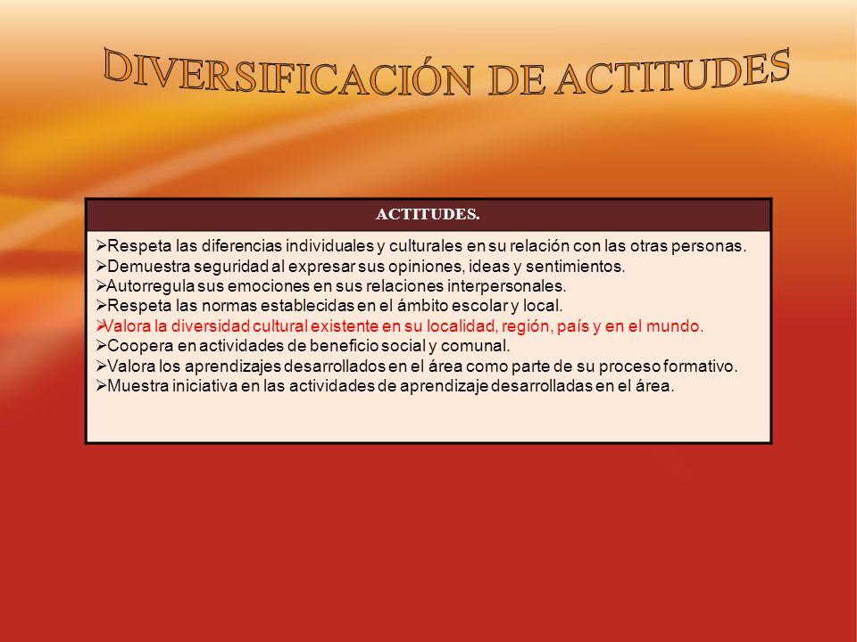 DIVERSIFICACIÓN DE ACTITUDES