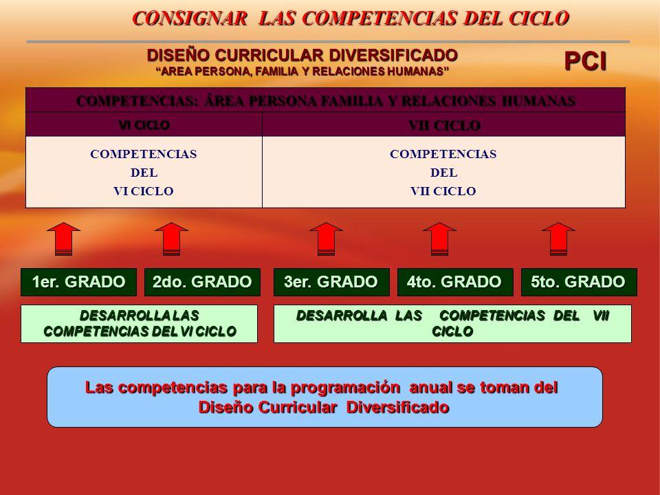 PCI CONSIGNAR LAS COMPETENCIAS DEL CICLO