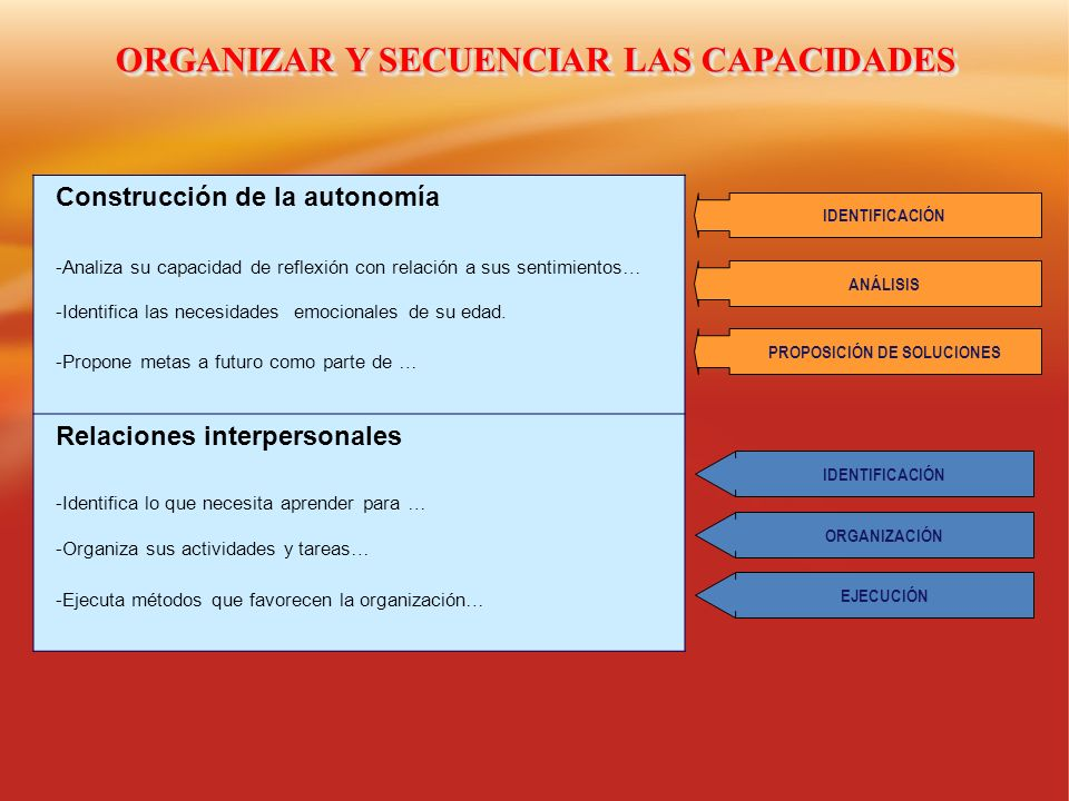 ORGANIZAR Y SECUENCIAR LAS CAPACIDADES