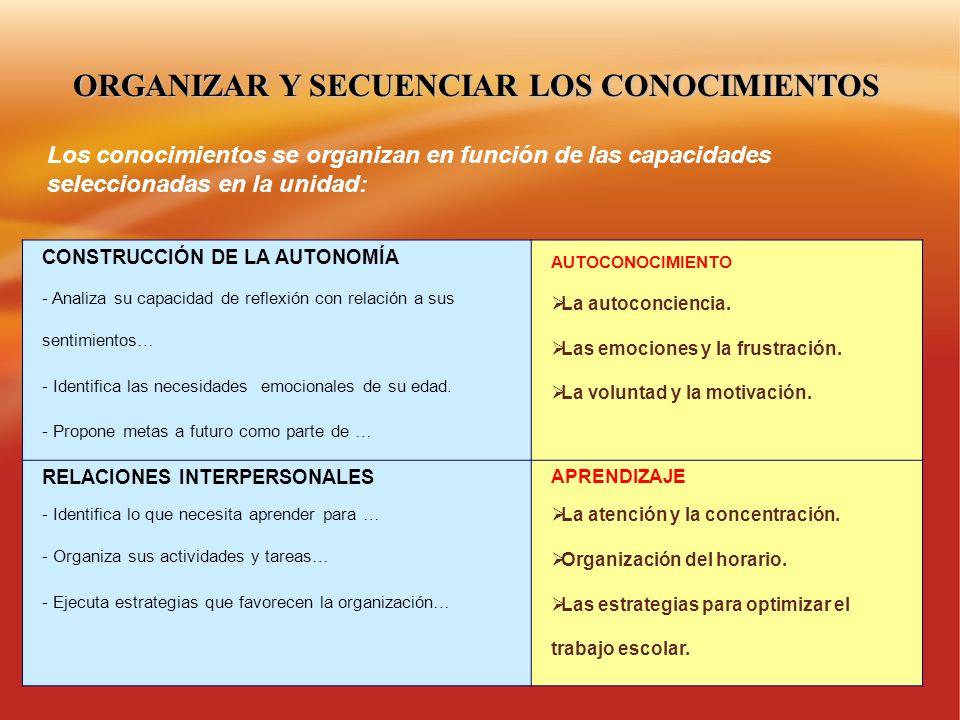 ORGANIZAR Y SECUENCIAR LOS CONOCIMIENTOS