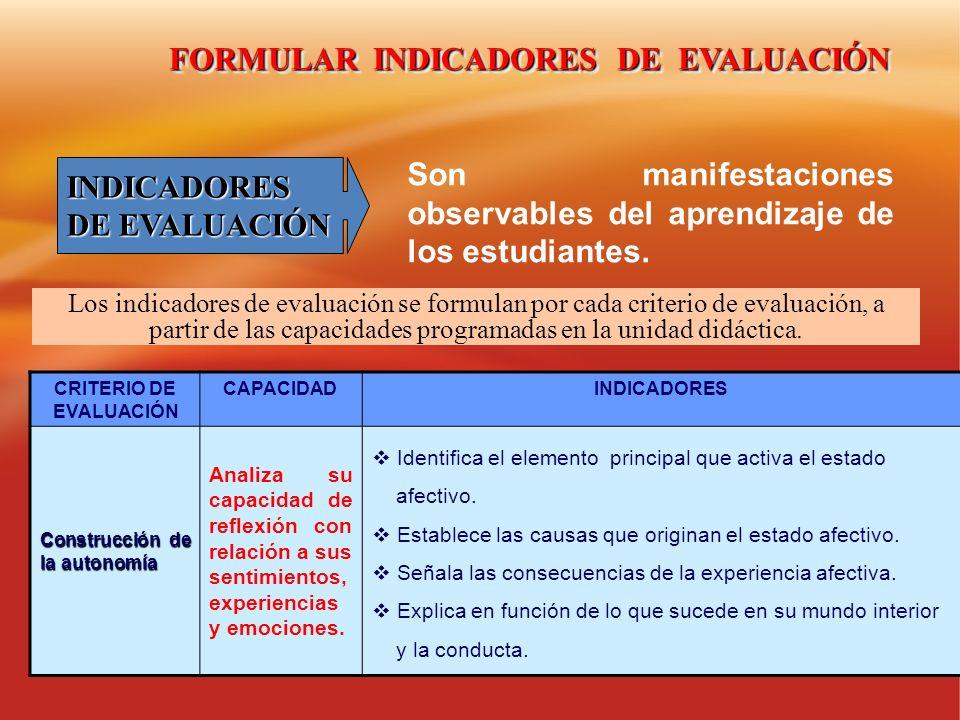 FORMULAR INDICADORES DE EVALUACIÓN CRITERIO DE EVALUACIÓN