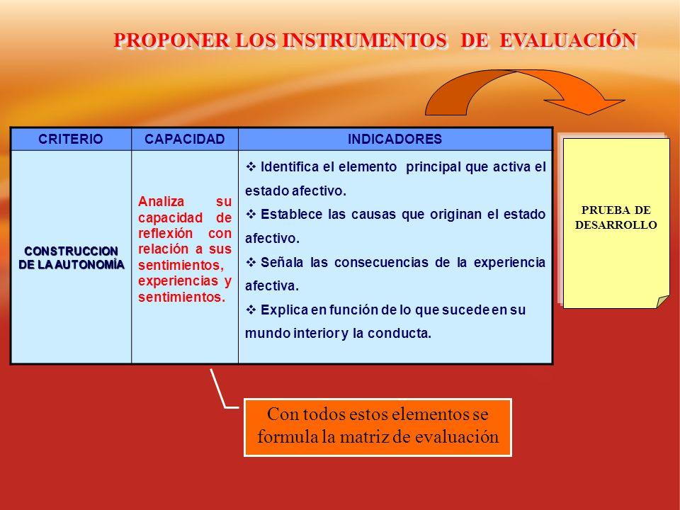 PROPONER LOS INSTRUMENTOS DE EVALUACIÓN CONSTRUCCION DE LA AUTONOMÍA