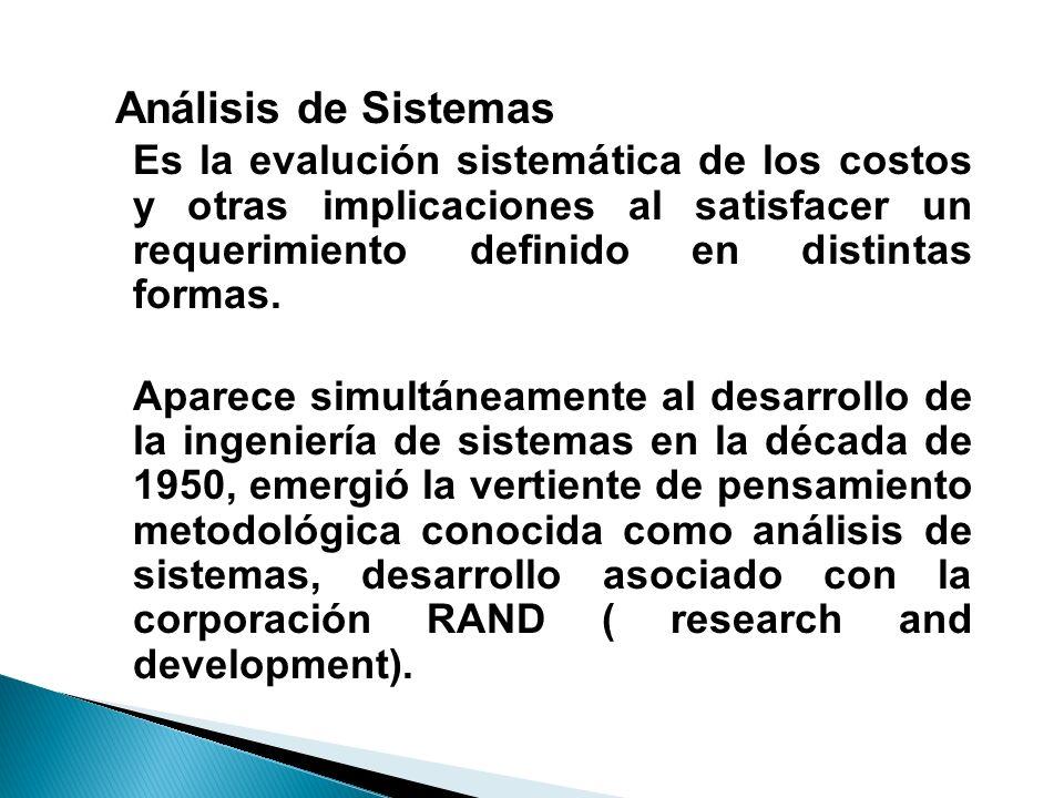Análisis de SistemasEs la evalución sistemática de los costos y otras implicaciones al satisfacer un requerimiento definido en distintas formas.