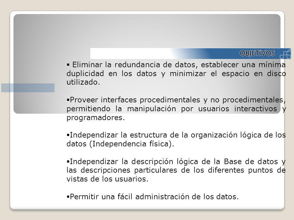 Eliminar la redundancia de datos, establecer una mínima duplicidad en los datos y minimizar el espacio en disco utilizado.