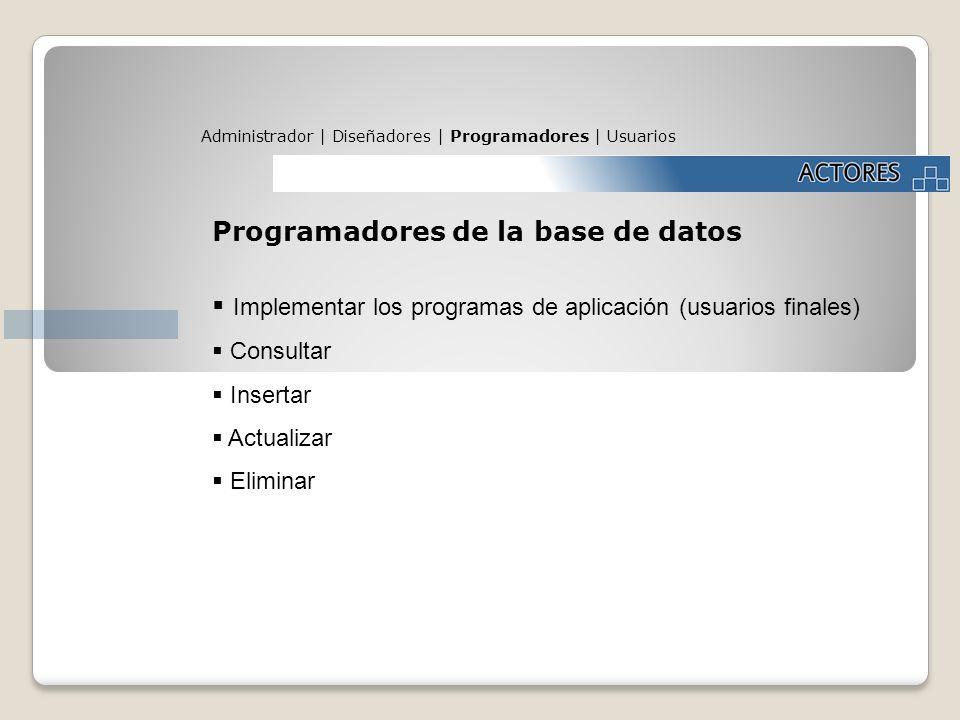Programadores de la base de datos