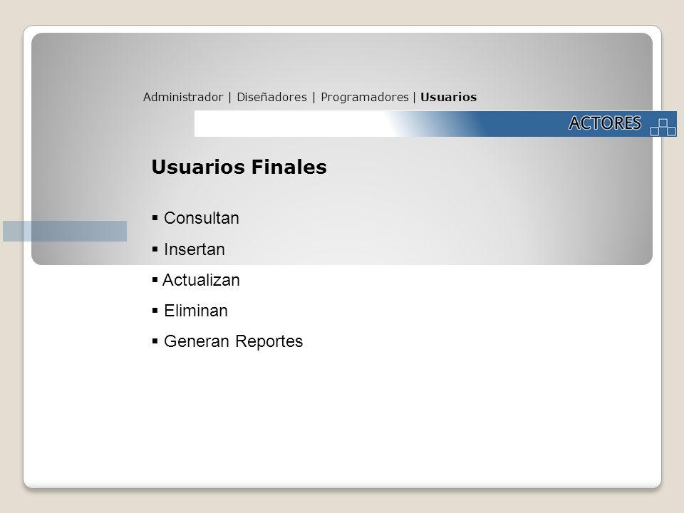 Usuarios Finales Consultan Insertan Actualizan Eliminan