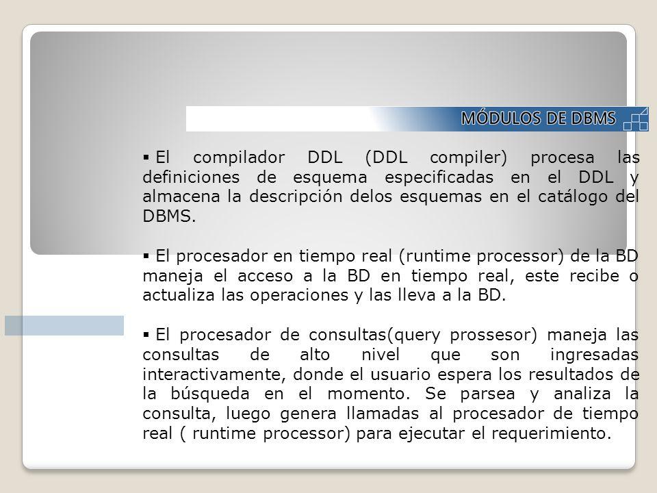 El compilador DDL (DDL compiler) procesa las definiciones de esquema especificadas en el DDL y almacena la descripción delos esquemas en el catálogo del DBMS.