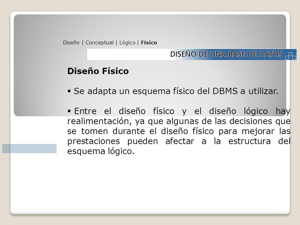 Se adapta un esquema físico del DBMS a utilizar.
