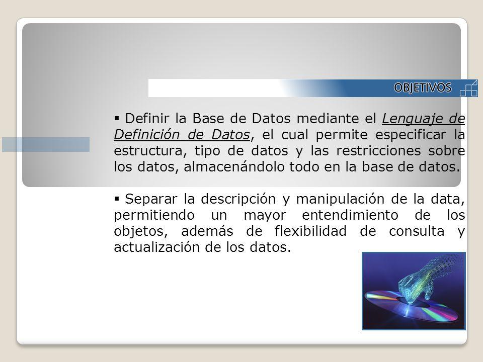 Definir la Base de Datos mediante el Lenguaje de Definición de Datos, el cual permite especificar la estructura, tipo de datos y las restricciones sobre los datos, almacenándolo todo en la base de datos.