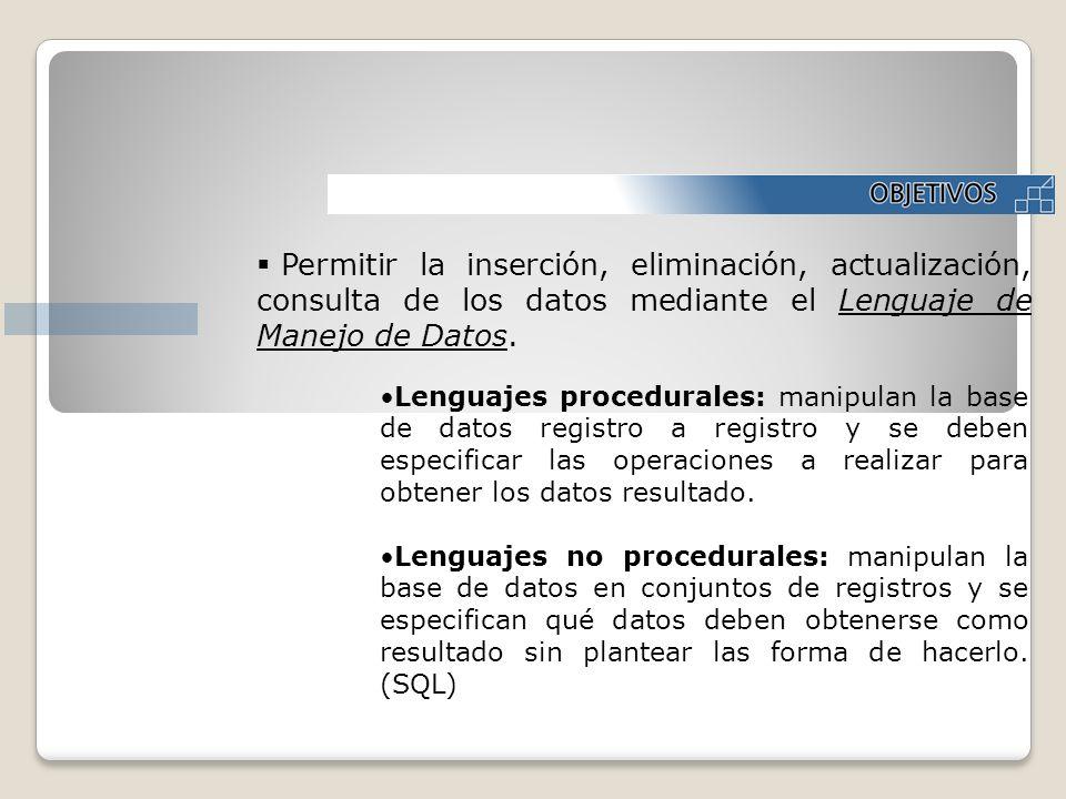 Permitir la inserción, eliminación, actualización, consulta de los datos mediante el Lenguaje de Manejo de Datos.