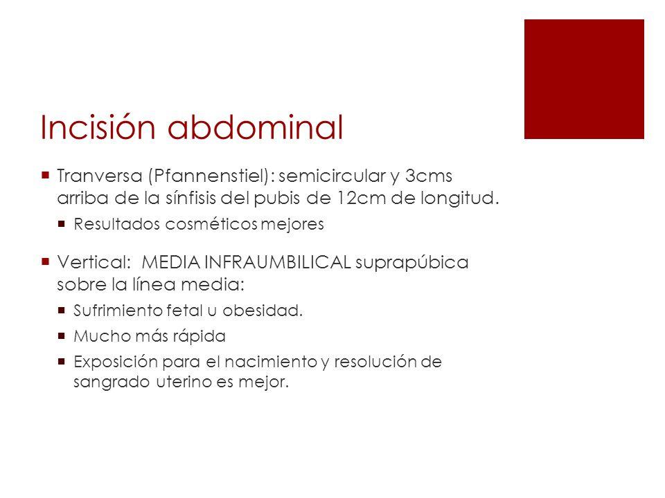 Incisión abdominalTranversa (Pfannenstiel): semicircular y 3cms arriba de la sínfisis del pubis de 12cm de longitud.
