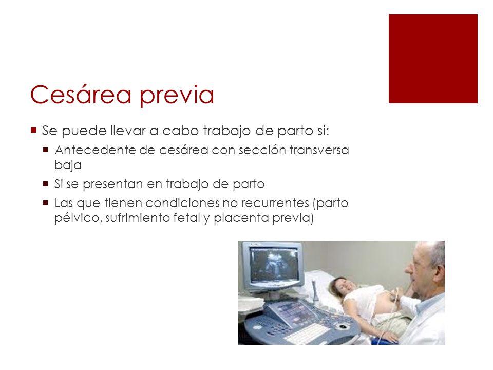 Cesárea previa Se puede llevar a cabo trabajo de parto si: