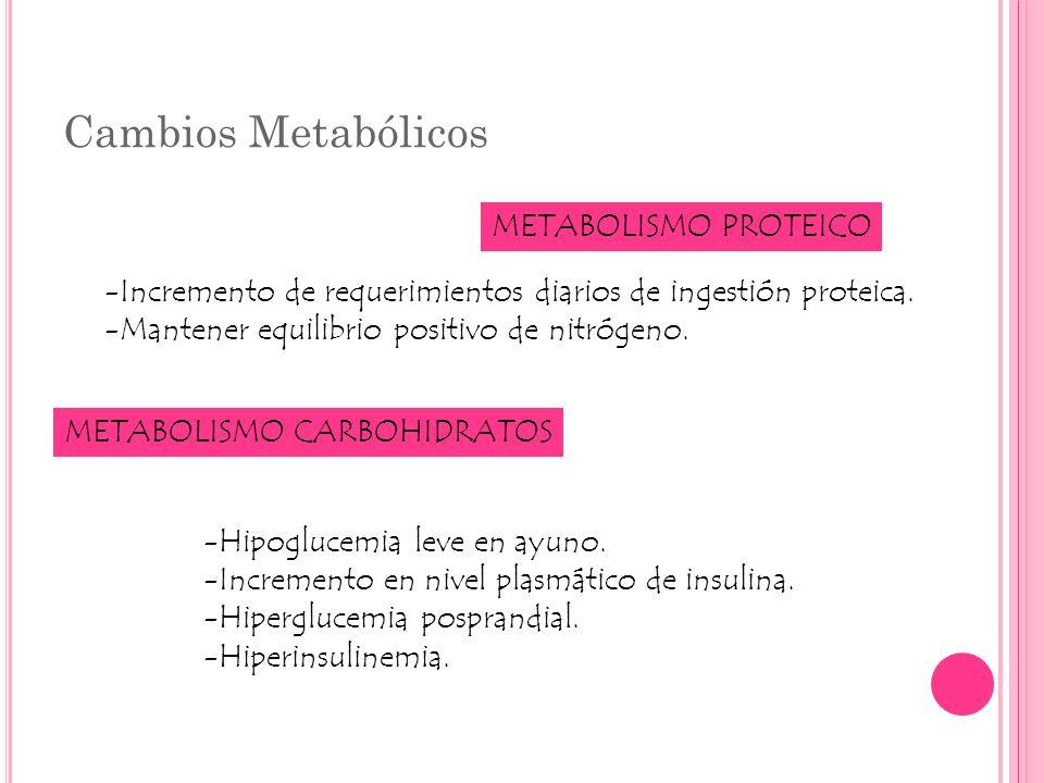 Cambios Metabólicos METABOLISMO PROTEICO