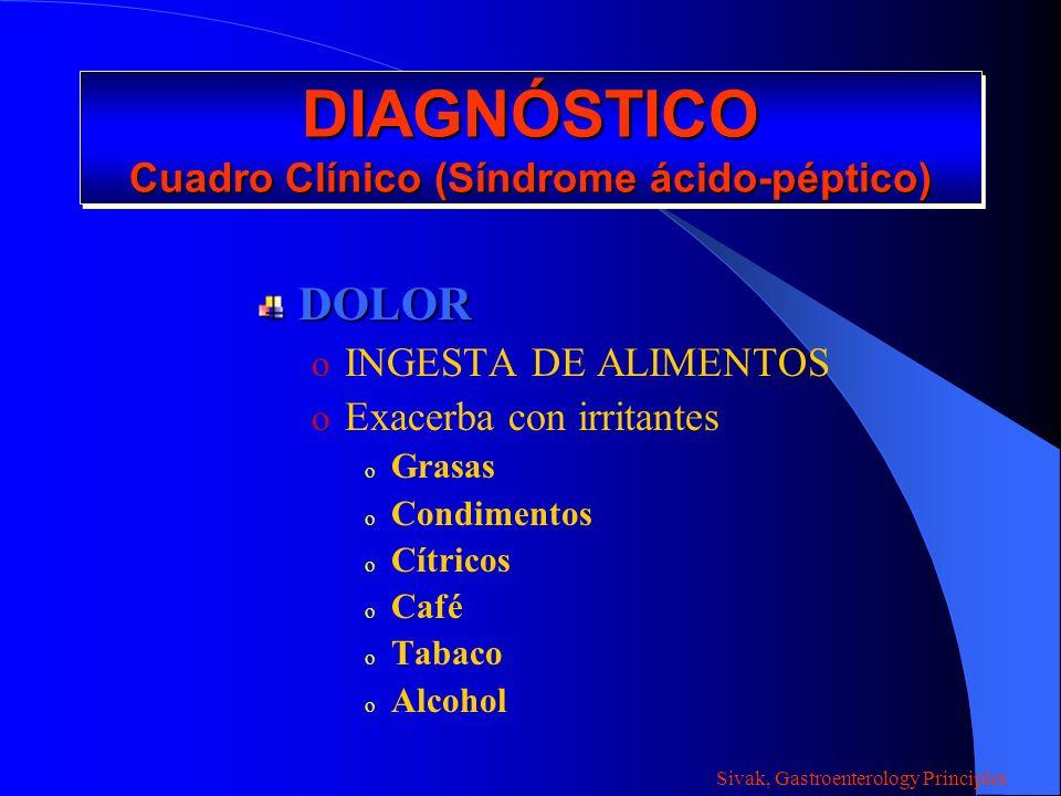 DIAGNÓSTICO Cuadro Clínico (Síndrome ácido-péptico)