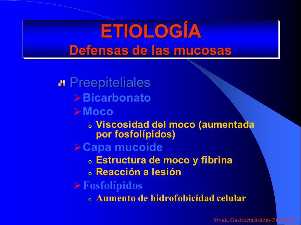 ETIOLOGÍA Defensas de las mucosas