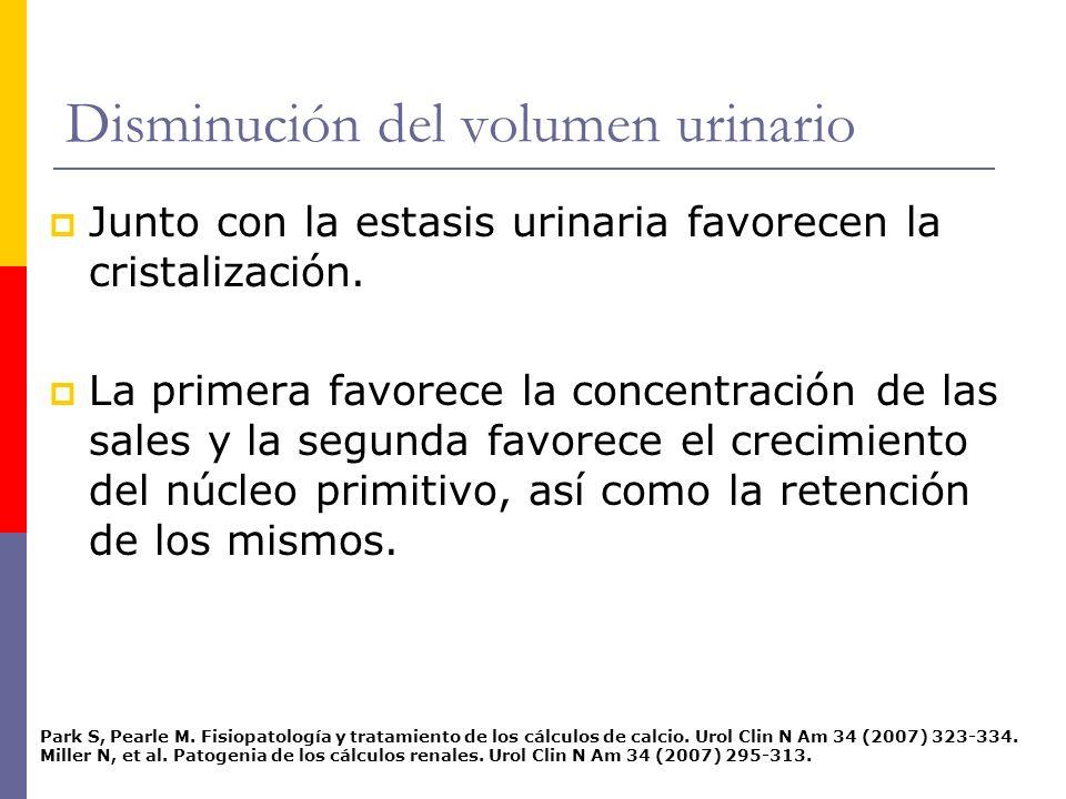 Disminución del volumen urinario