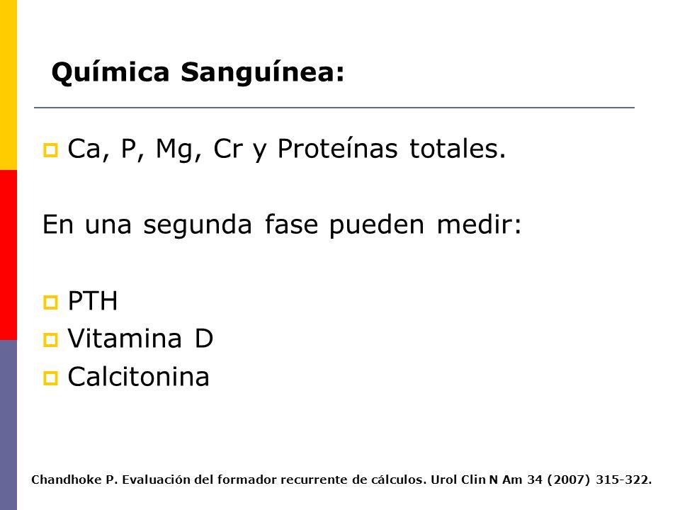 Ca, P, Mg, Cr y Proteínas totales. En una segunda fase pueden medir: