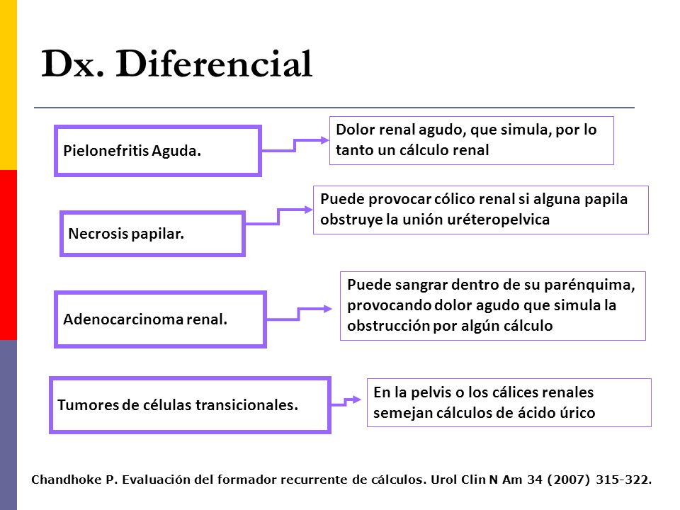 Dx. Diferencial Dolor renal agudo, que simula, por lo tanto un cálculo renal. Pielonefritis Aguda.
