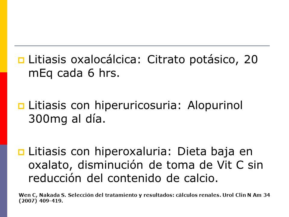 Litiasis oxalocálcica: Citrato potásico, 20 mEq cada 6 hrs.