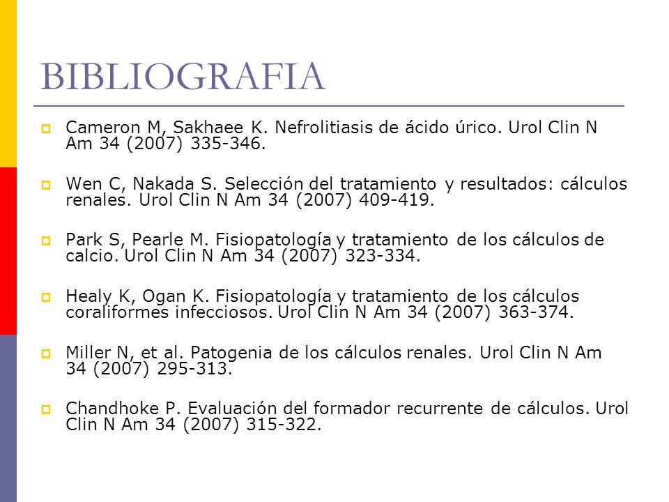 BIBLIOGRAFIA Cameron M, Sakhaee K. Nefrolitiasis de ácido úrico. Urol Clin N Am 34 (2007) 335-346.