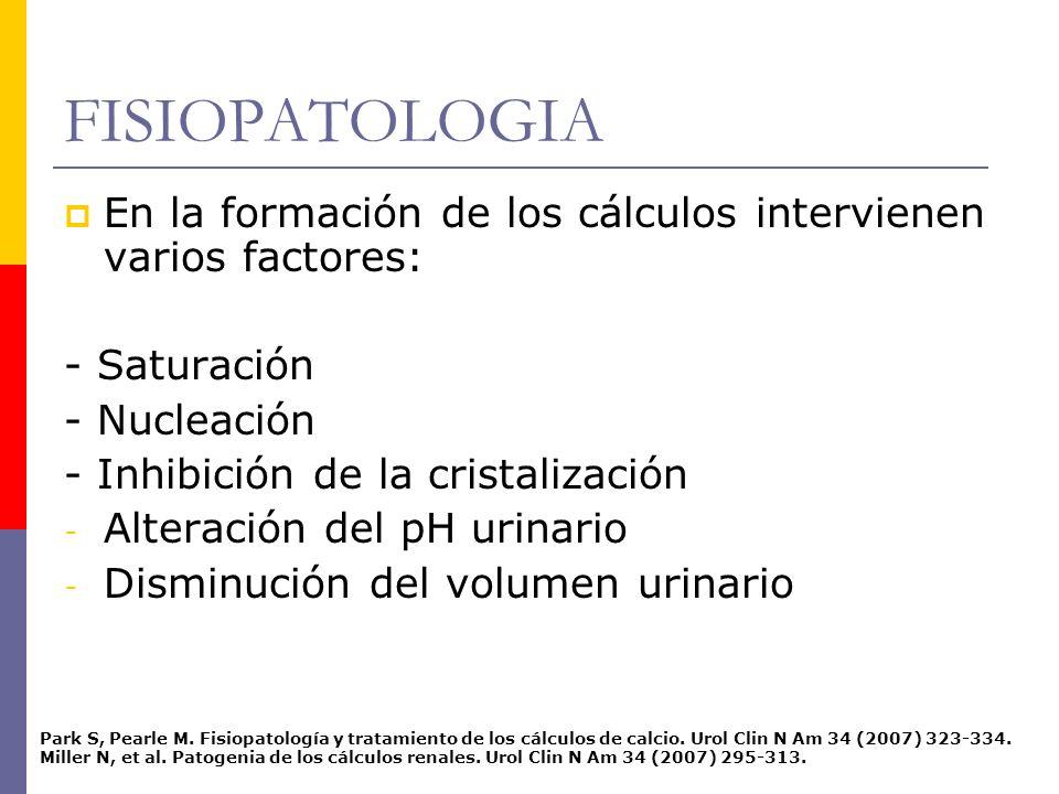 FISIOPATOLOGIA En la formación de los cálculos intervienen varios factores: - Saturación. - Nucleación.