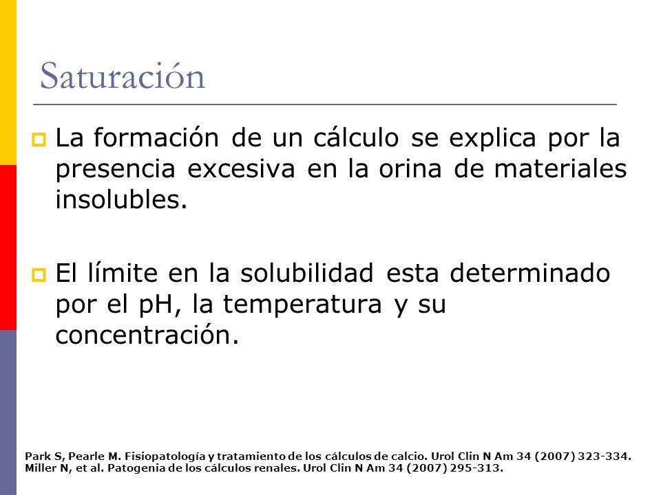 Saturación La formación de un cálculo se explica por la presencia excesiva en la orina de materiales insolubles.