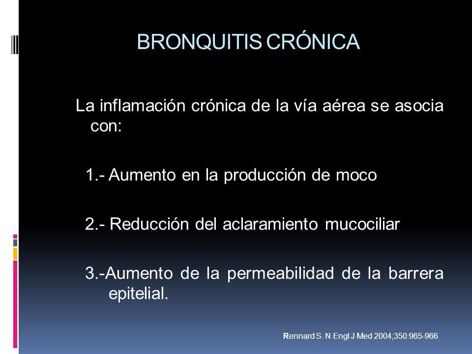 BRONQUITIS CRÓNICA La inflamación crónica de la vía aérea se asocia con: 1.- Aumento en la producción de moco.