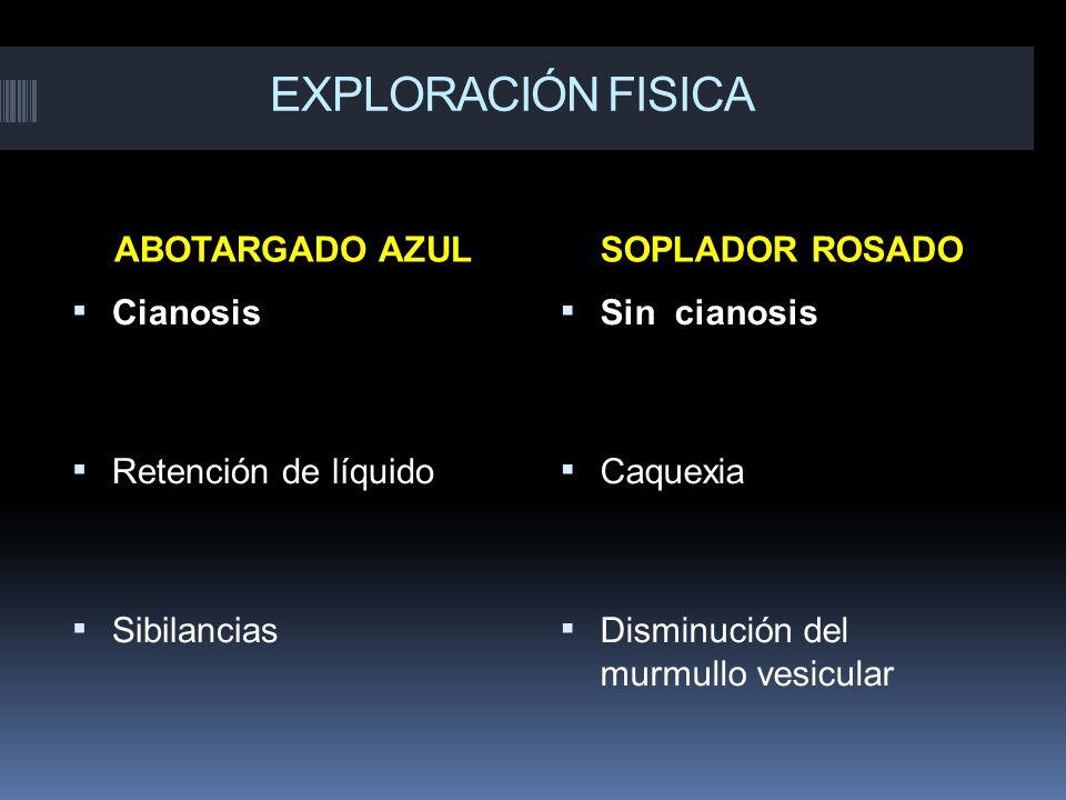EXPLORACIÓN FISICA ABOTARGADO AZUL SOPLADOR ROSADO Cianosis