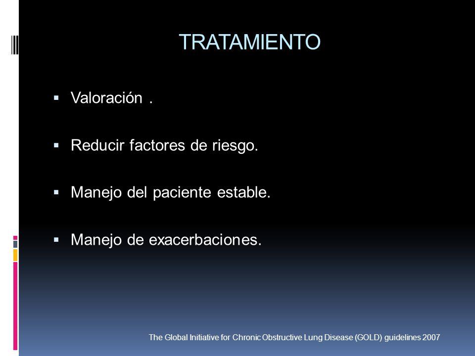 TRATAMIENTO Valoración . Reducir factores de riesgo.