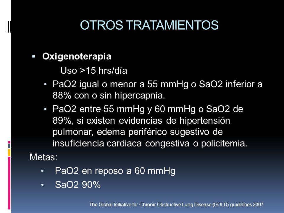 OTROS TRATAMIENTOS Oxigenoterapia Uso >15 hrs/día